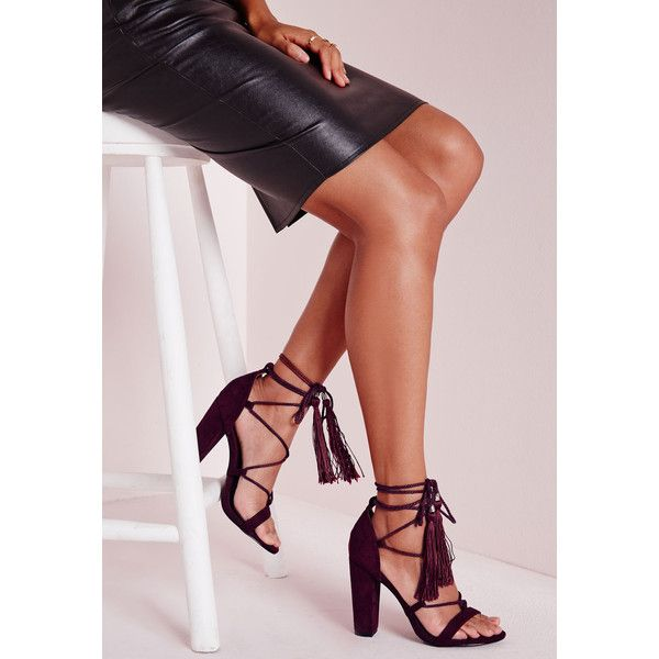 6f254f448fc Missguided Lace Up Tassel Block Heeled Sandals ( 60) ❤ liked on Polyvore  featuring shoes