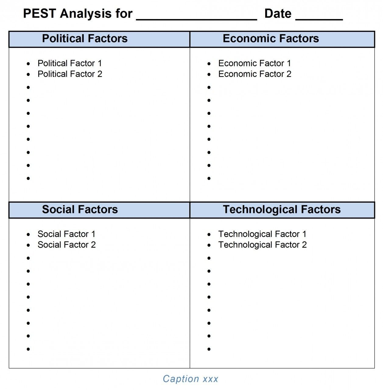 PEST Analysis Template Word 2007, 2010, 2013 | Tool store and Template
