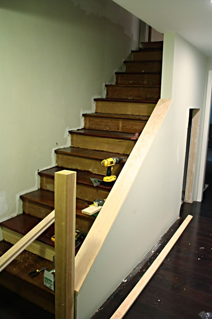 Before after of the year basement stairway basements for Basement step ideas