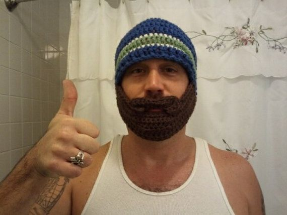Crochet Beard Hat  adult size made to order by freshasdaisies #crochetedbeards