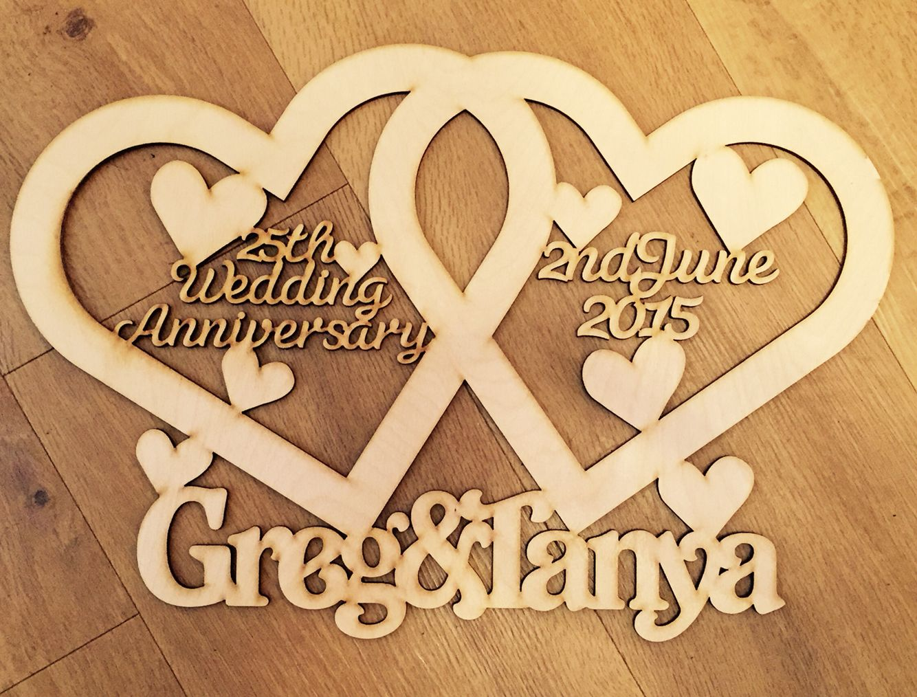 Beautiful Laser Cut Wedding Anniversary Personalised Gift. Search Cut and Crafted on Facebook to see more gorgeous products