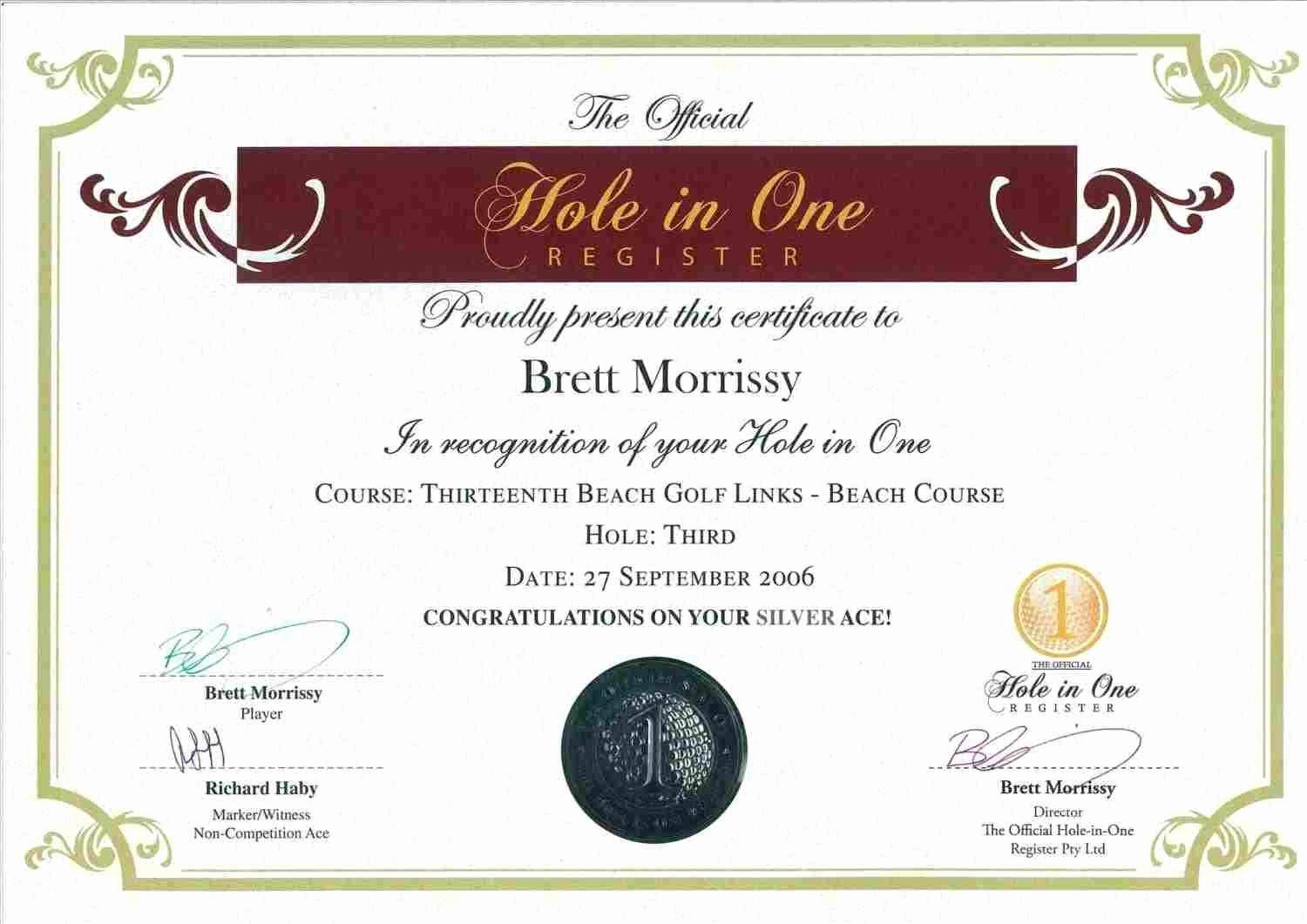 20 Free Hole In One Certificate Template ™ in 2020