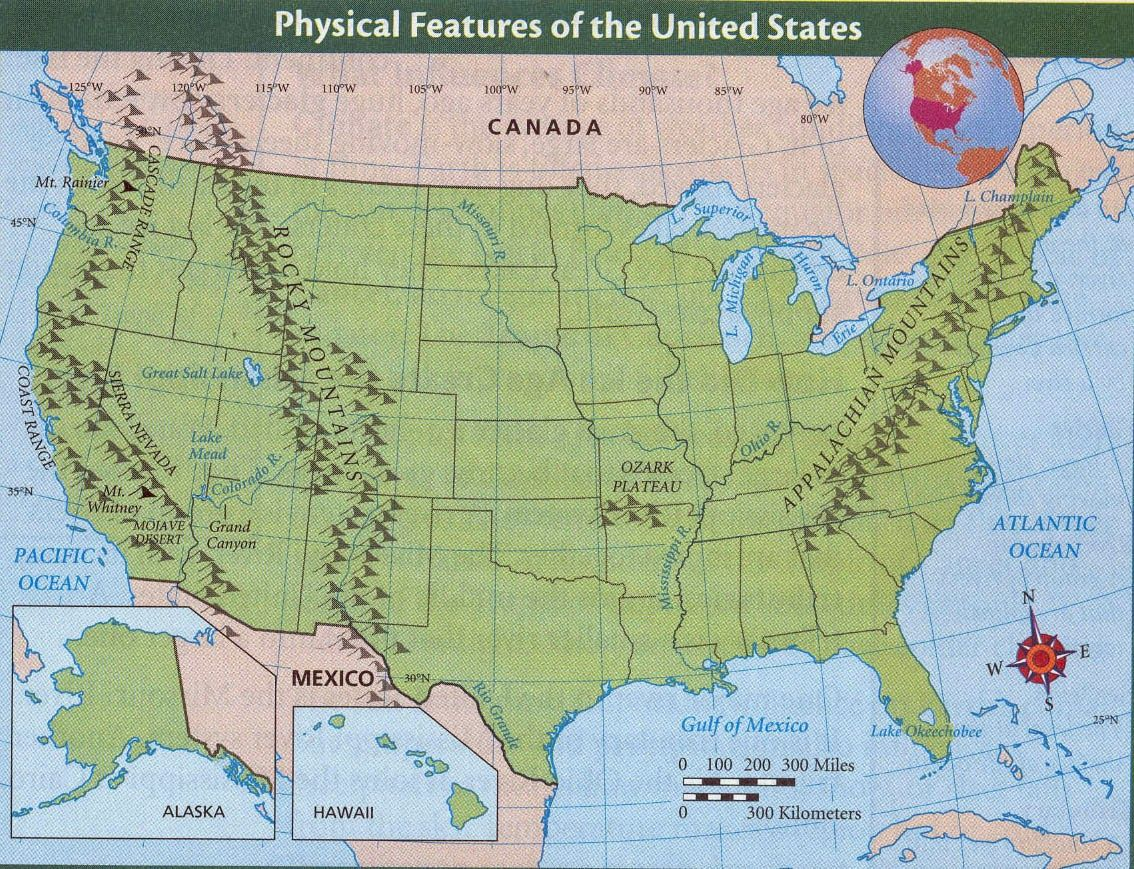 United States Physical Map Us Physical Map With Rivers And Map - Mountain ranges in us map