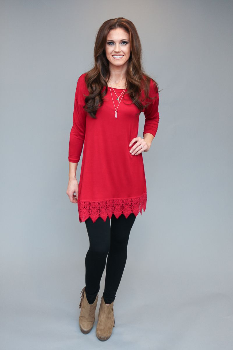 Magnolia Boutique Indianapolis - City Limits Crochet Detail Tunic Dress  - Red, $32.00 (http://www.indiefashionboutique.com/city-limits-crochet-detail-tunic-dress-red/)