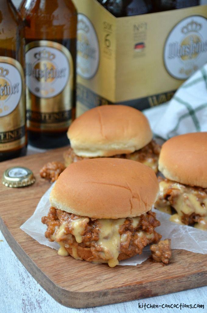 Cheesy Beer and Bacon Sloppy Joe Sliders Recipes - main dishes