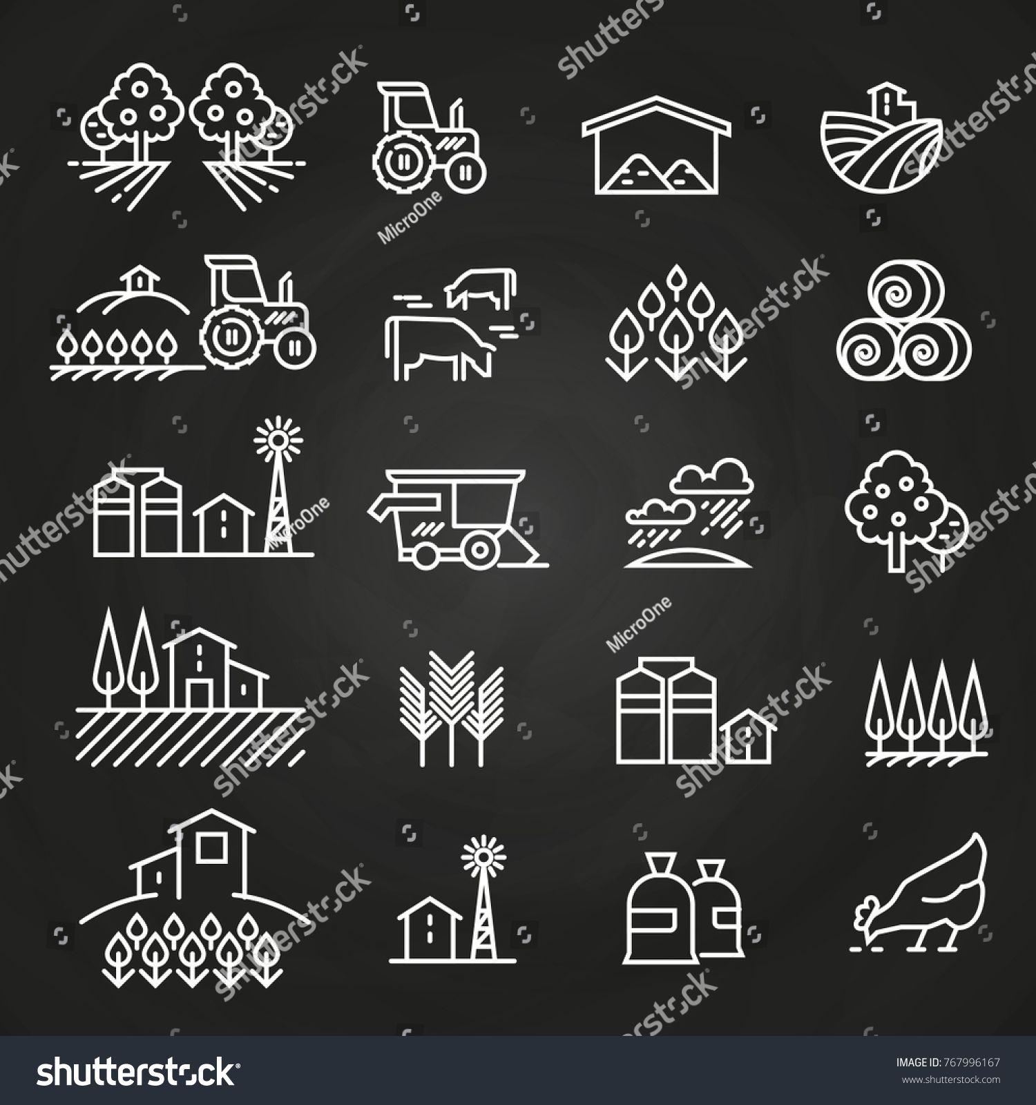 White farm icons and concepts on blackboard. Farm