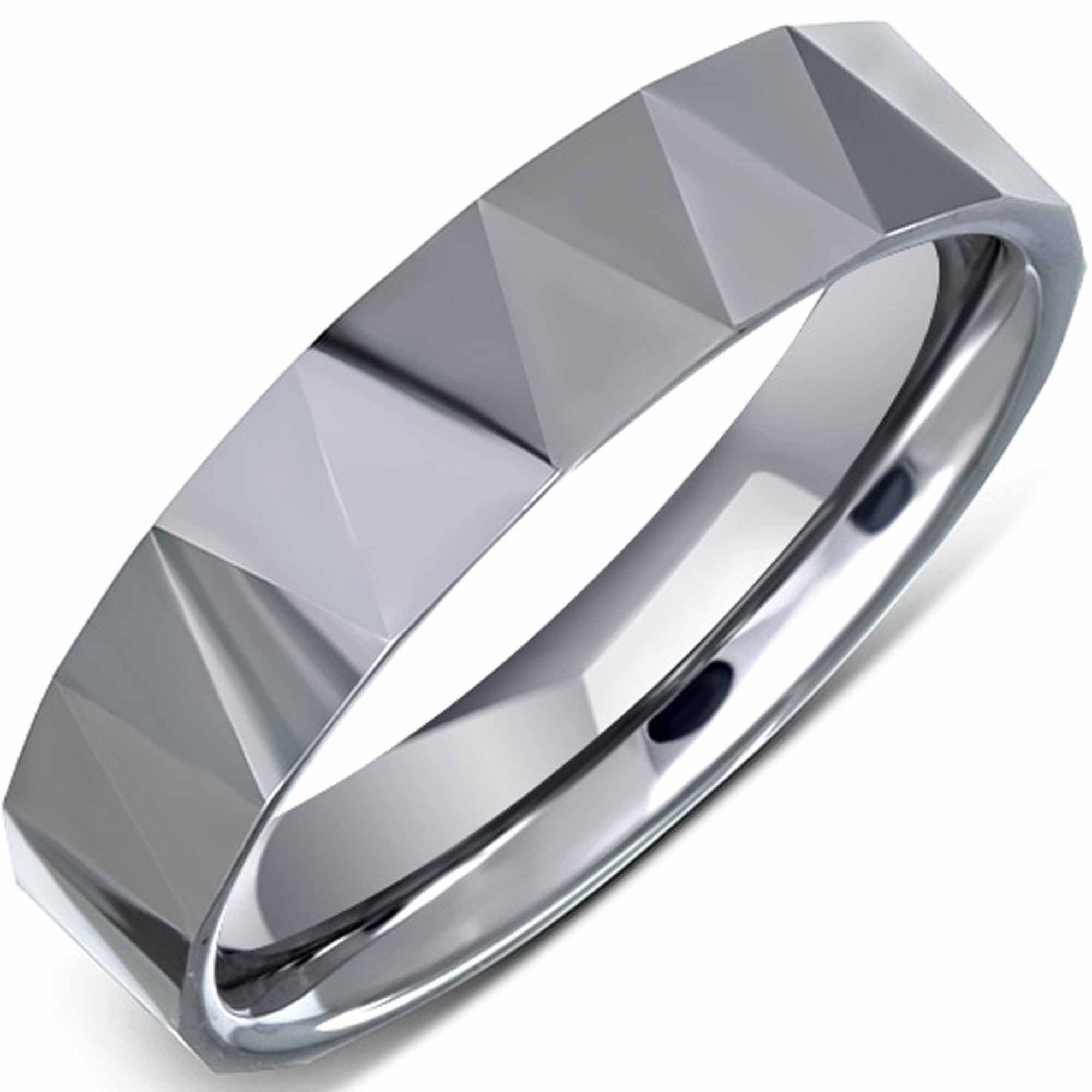 Faceted design ring made from solid tungsten carbide #ring #jewellery