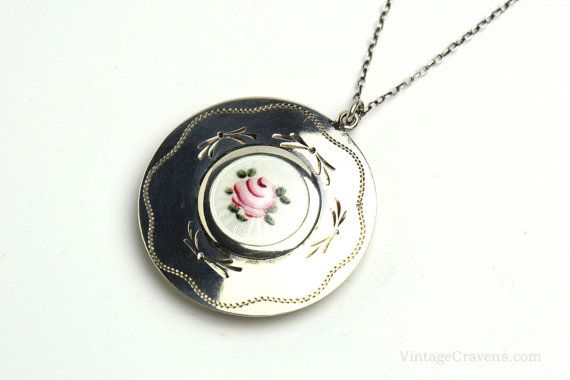Sterling Silver Guilloche Enamel Locket Necklace by VintageCravens