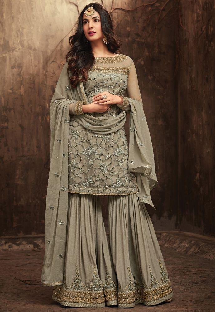 PAKISTANI ANARKALI SALWAR KAMEEZ SUIT INDIAN WOMEN DESIGNER ETHNIC SHARARA DRESS
