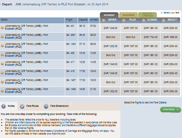 When booking an SAA flight, note that the airfares may be for ...