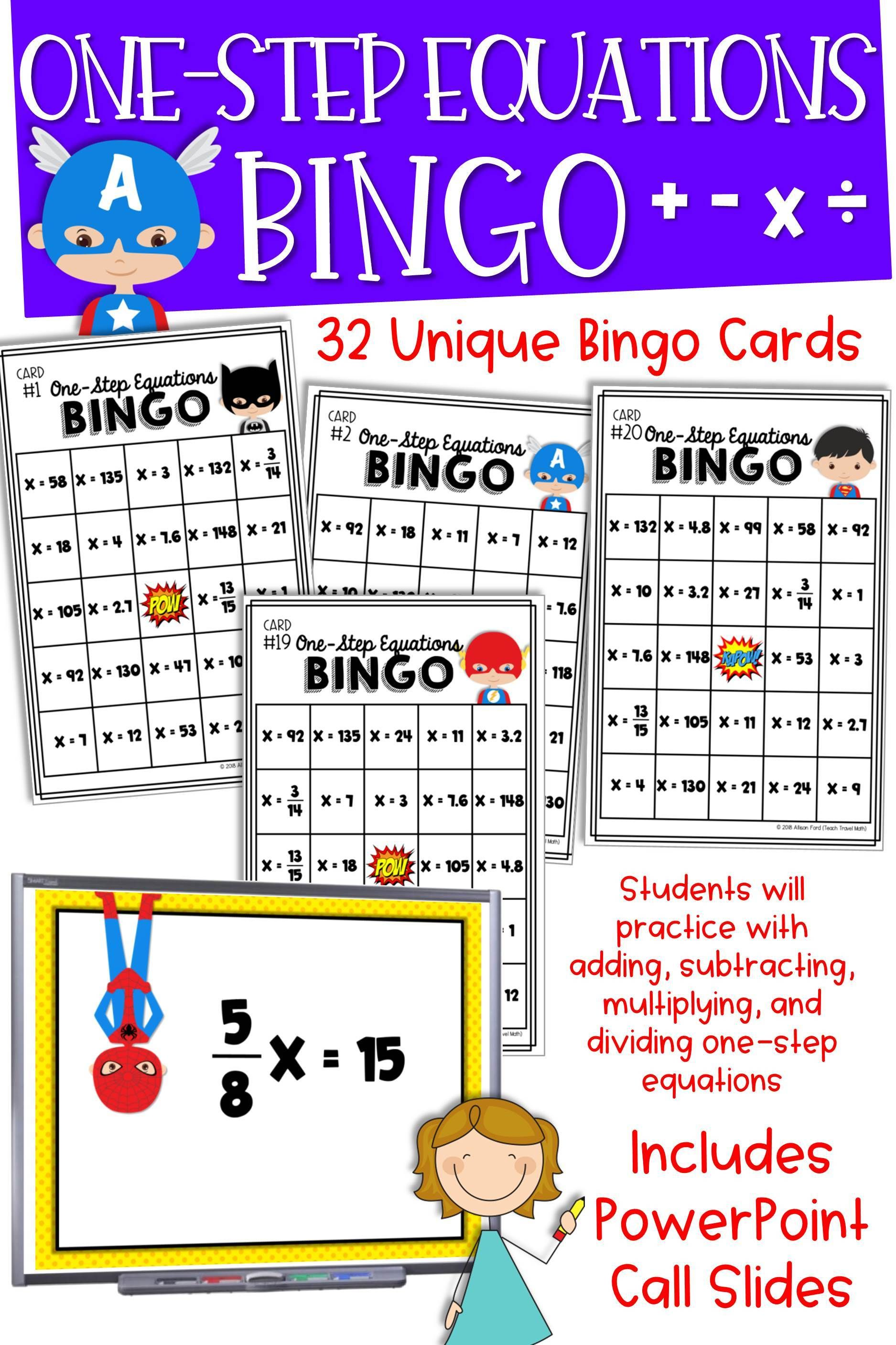 One Step Equations Bingo Game Superhero Theme