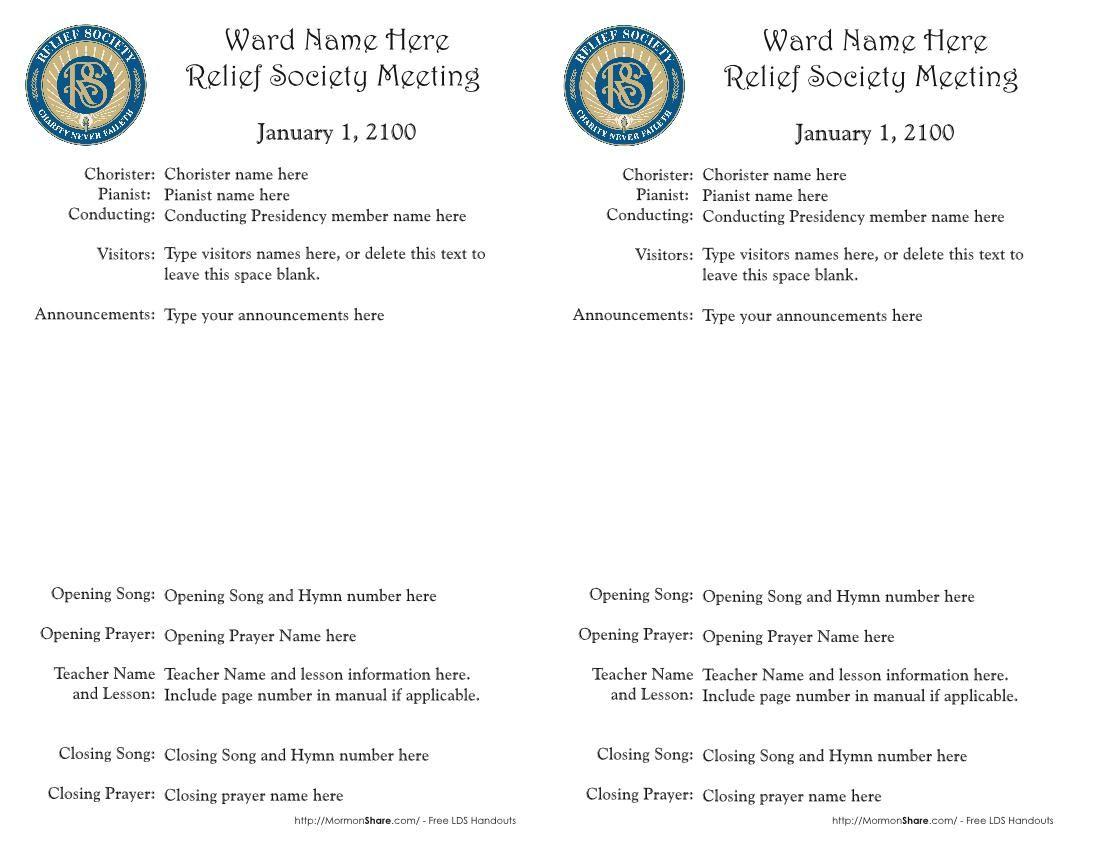 Mormon Share } Relief Society Meeting Agenda Template -EDITABLE ...
