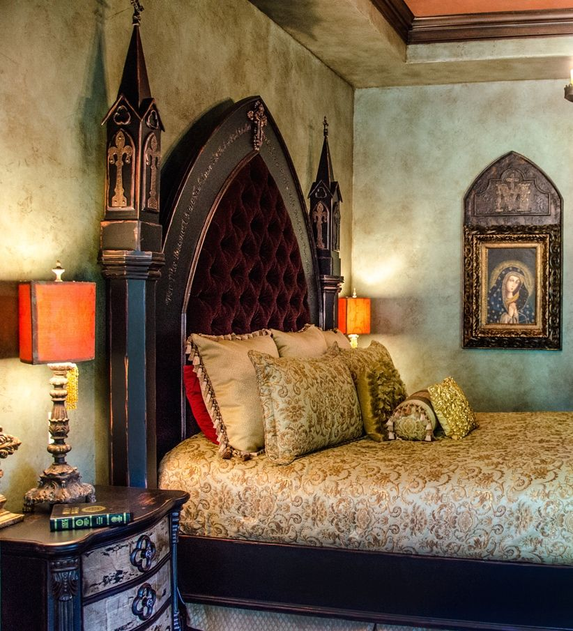 bedrooms Victorian Gothic bedroom, Tuscan design, Gothic