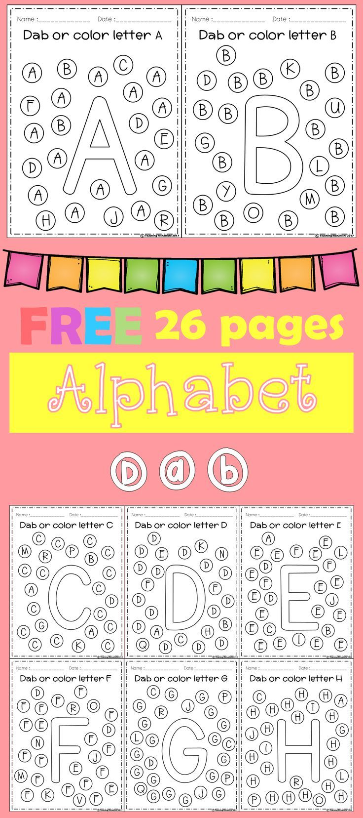 Kinder Garden: FREE Freebies Alphabet Dap A-Z 26 Pages. For PreK And