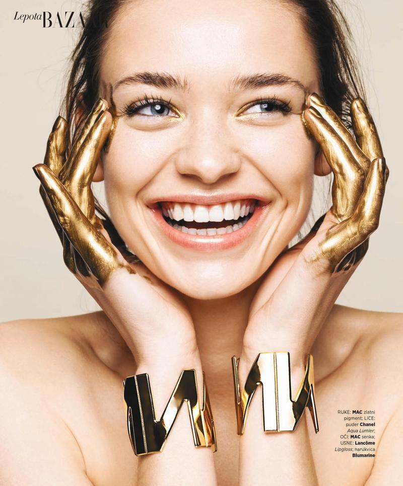 Karolina Gorzala gold beauty makeup stars in Harper's Bazaar Serbia Magazine February 2016 issue
