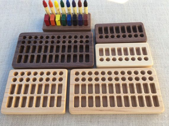 wooden crayon holder for beeswax blocks and sticks playroom