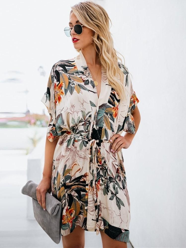 752a38059f0c4 V-Neck Above Knee Print Travel Look Summer Dress in 2019   def yes ...