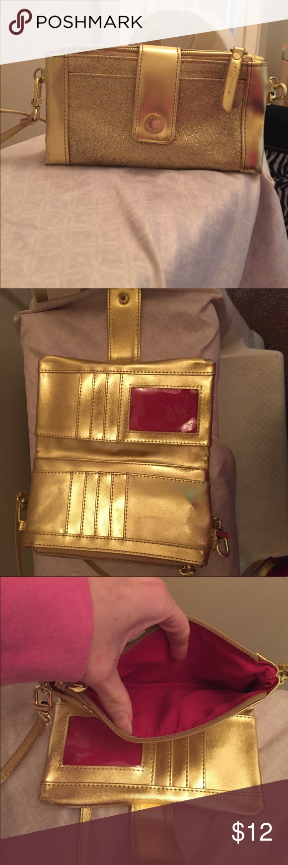 Steve Madden gold clutch wallet cross body Steve Madden gold wallet crossbody. Has lots of slots and a clear slot for ID. Zipper compartment perfect for cell phone. Pretty shiny gold and great for nights out. Steve Madden Bags Crossbody Bags