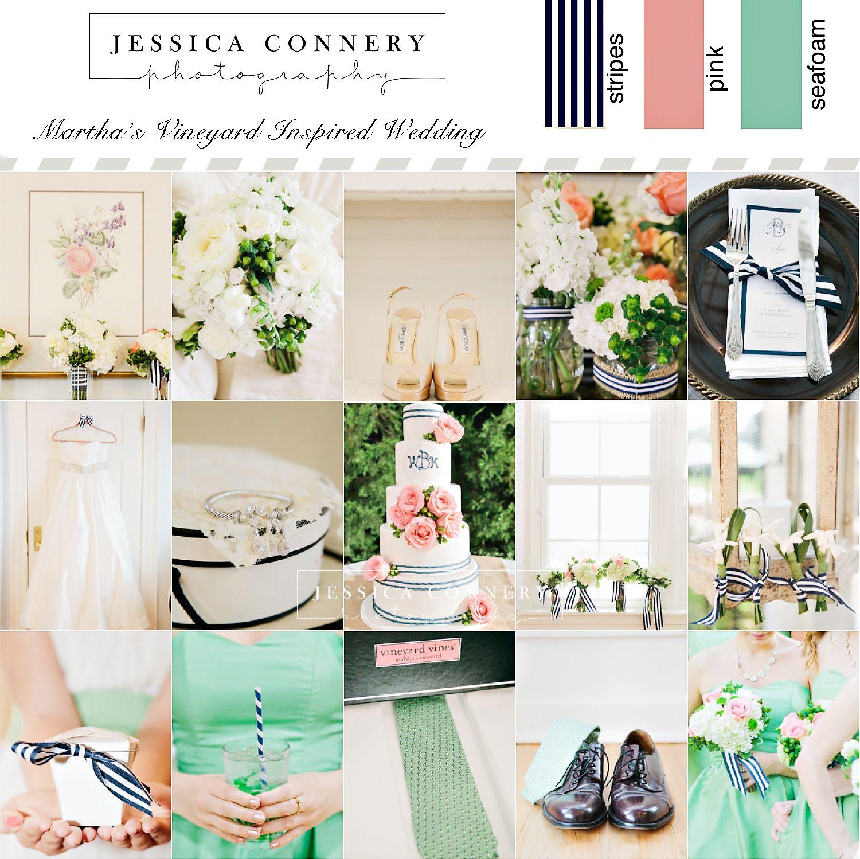 Seafoam Green Wedding Ideas: Martha's Vineyard Wedding Details With A Navy, Pink, And