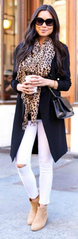 3f5079a84d white jeans + statement print item + scarf + Kat Tanita + simple black  jacket + neutral accessories + stylish and original look!