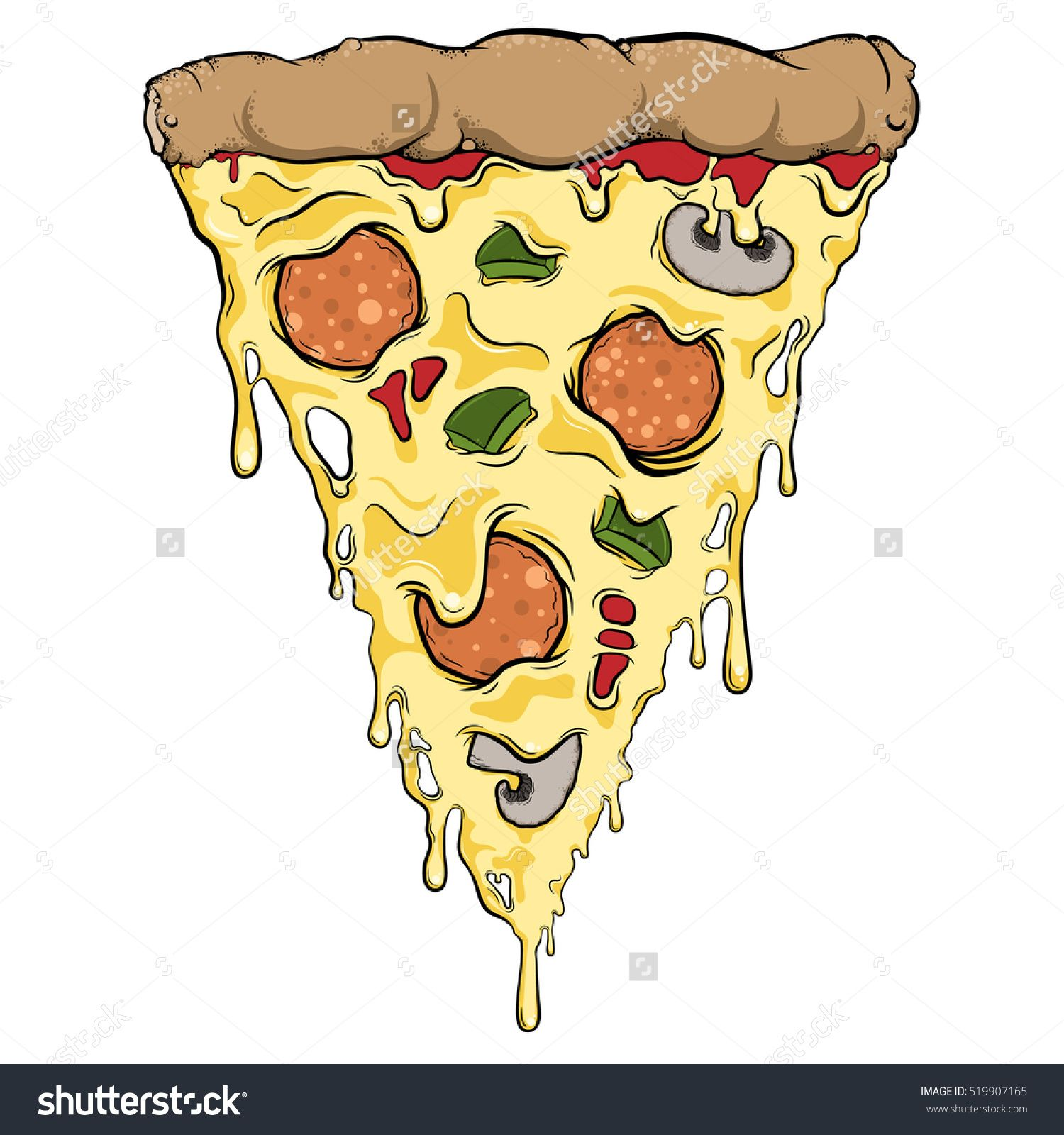 Pizza Slice Dripping Cheese Toppings Stock Vector 519907165 Pizza Slice Pizza Art Cheese Topping