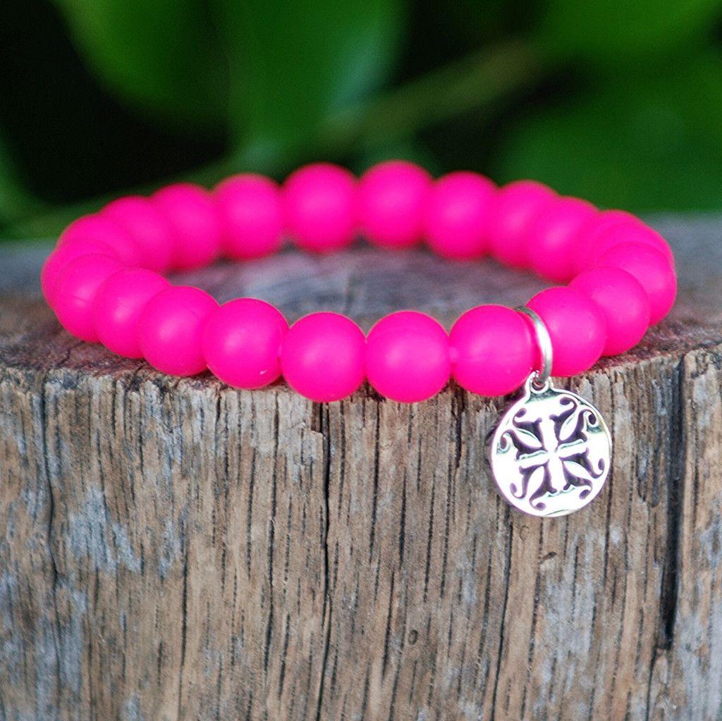 Catherine Neon Pink Rustic cuff, Rustic cuff bracelets