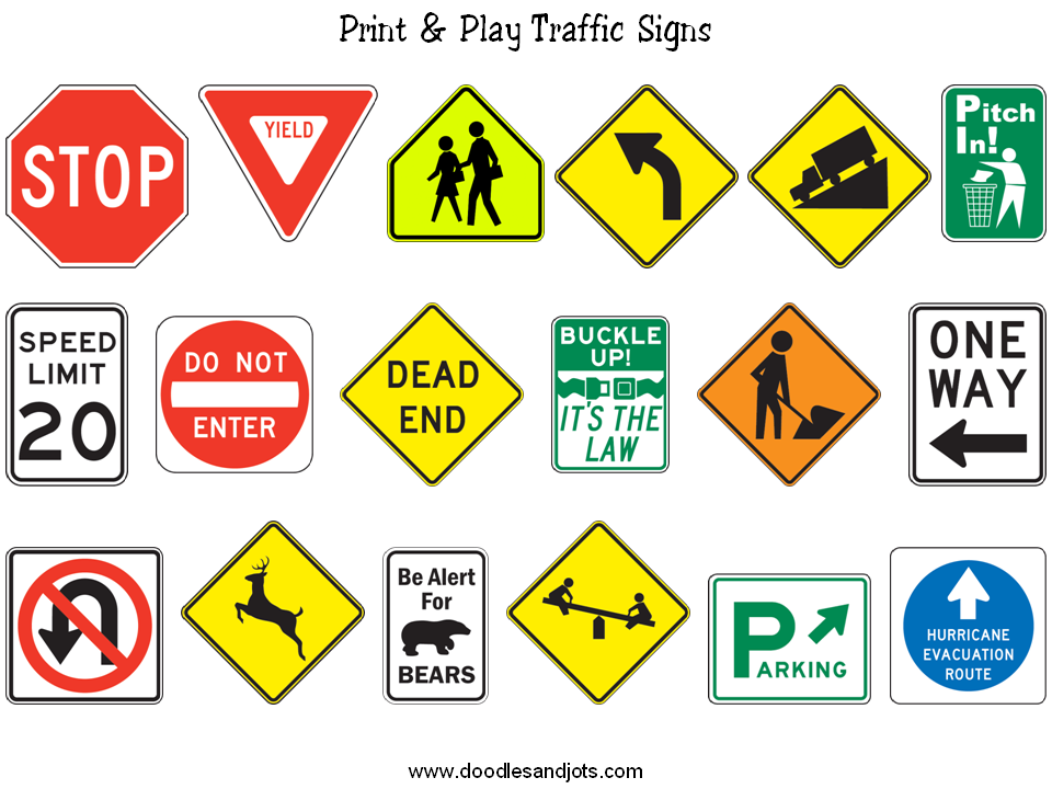Traffic Signs To Print Environmental Print Transportation