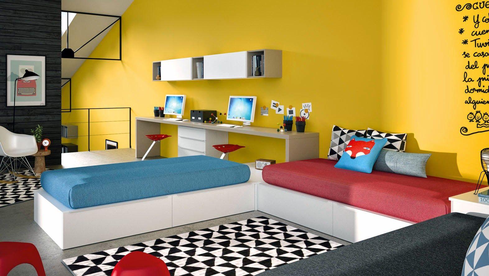 Dormitorio juvenil para dos hermanos camas en l en 2019 - Habitaciones juveniles ninas ...