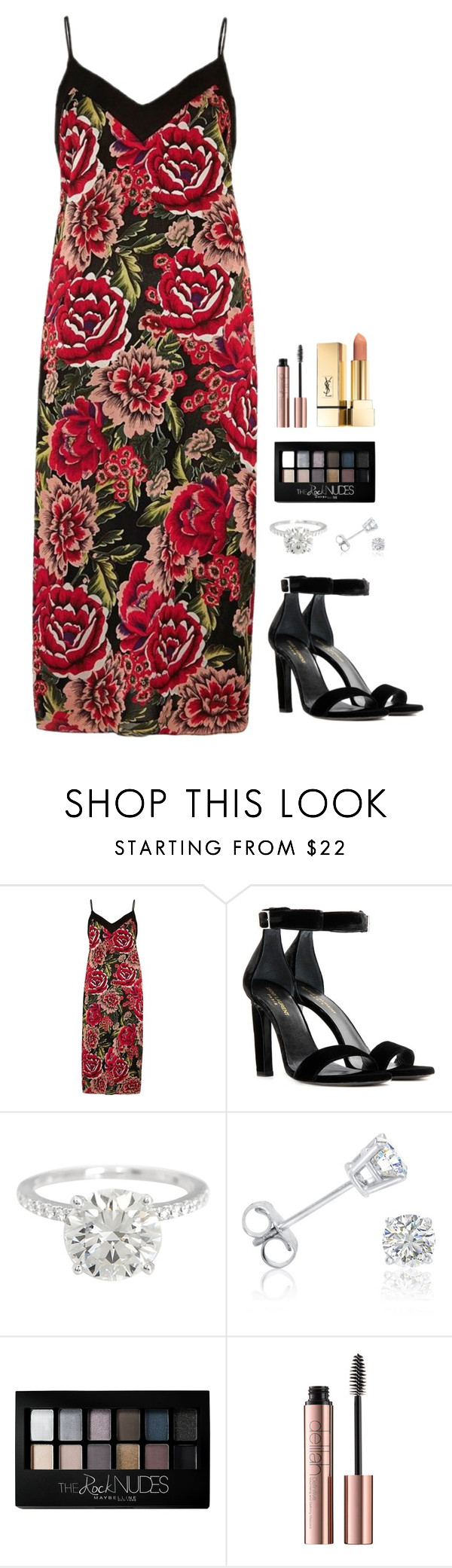 """Untitled #977"" by h1234l on Polyvore featuring River Island, Yves Saint Laurent, Amanda Rose Collection and Maybelline"