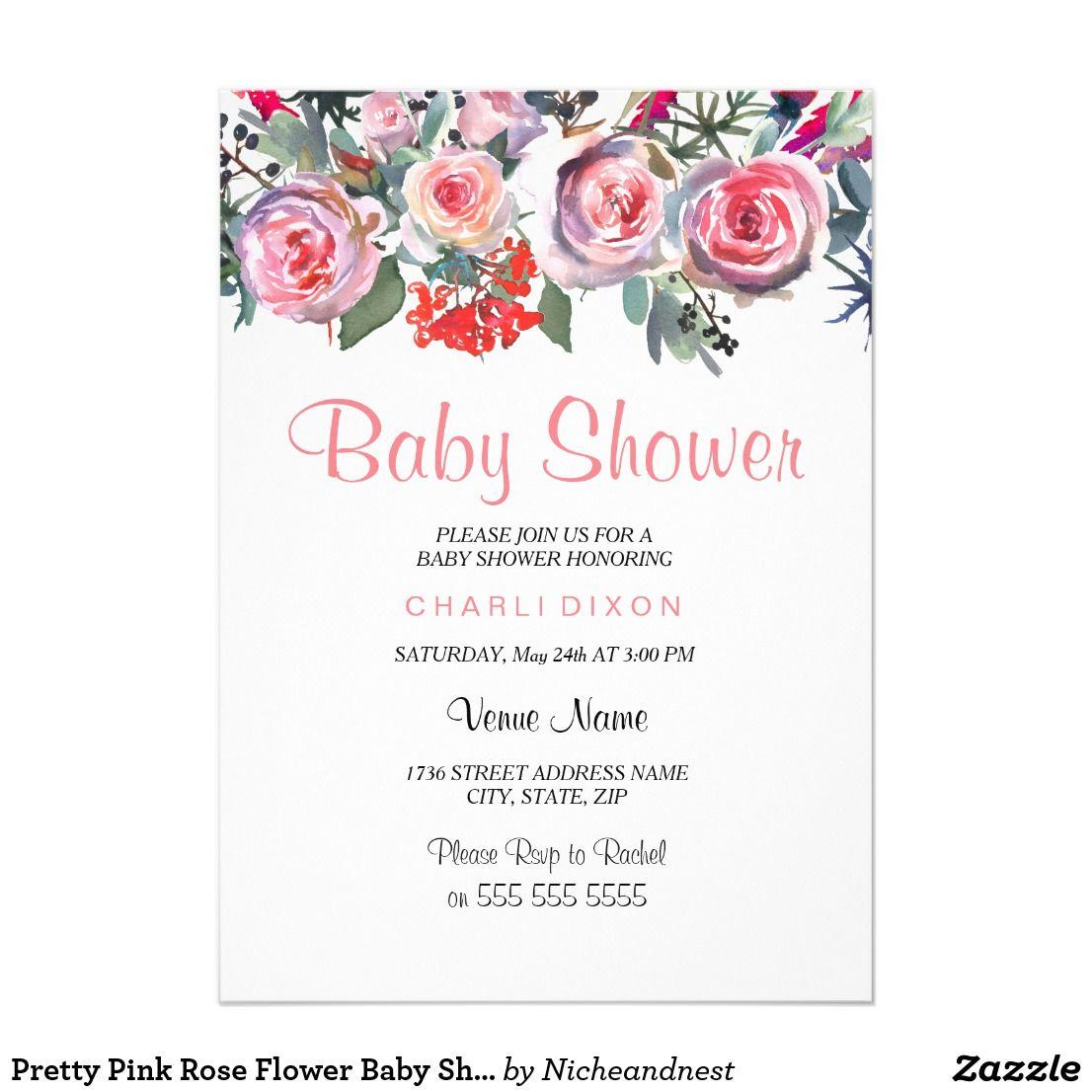 Pretty Pink Rose Flower Baby Shower Invitation | Shower invitations ...