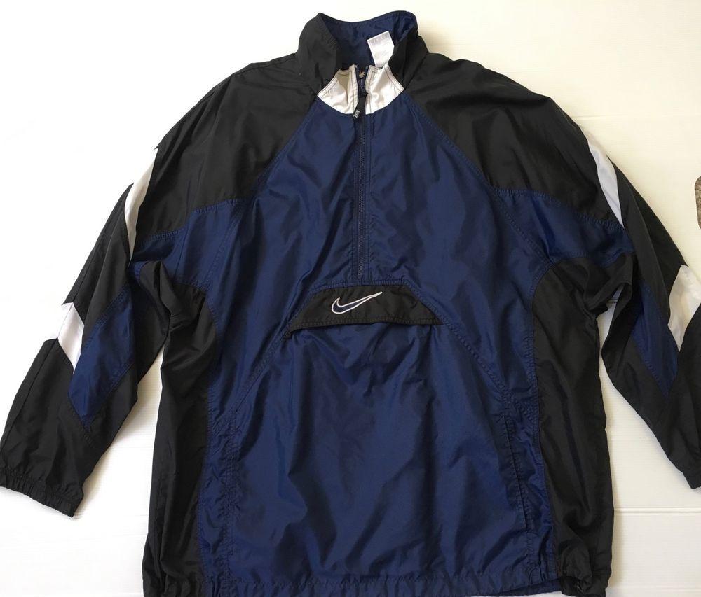 b25d307dd2bf Nike Air Mens Vintage Jacket Size 2XL Blue Lightweight Half Zip Windbreaker  c97  Nike  Windbreaker