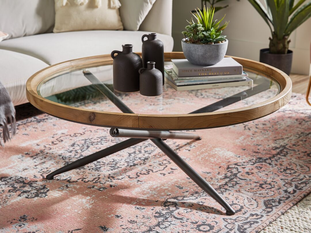 Pin By Vash Kap On Style Retro Summer Glass Coffee Table Decor Coffee Table Wood Round Coffee Table Decor [ 810 x 1080 Pixel ]
