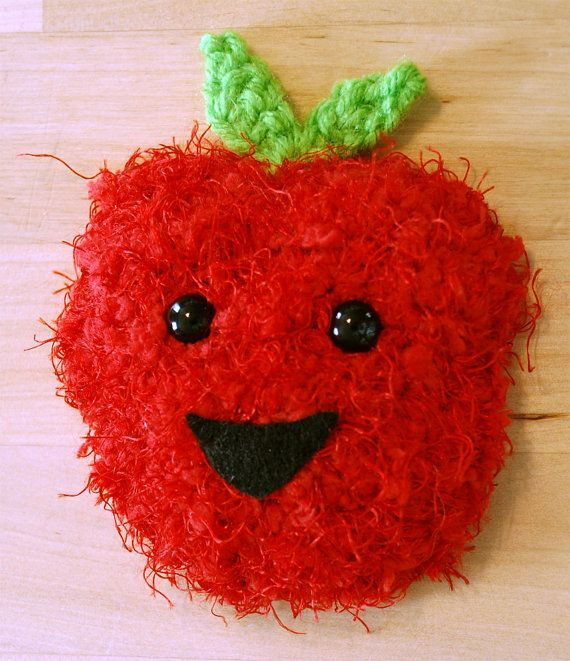 Happy Crochet Apple fridge magnet by theMeticulousWhim on Etsy