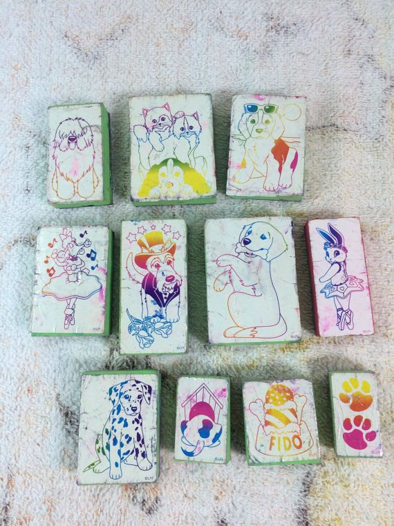 1990s Lisa Frank Rubber Stamps set of 11 Animals Cats Dogs Ballerina