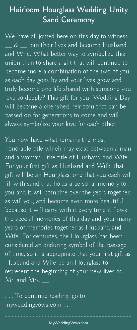 Heirloom Hourglass Wedding Unity Sand Ceremony in 2019 | Wedding