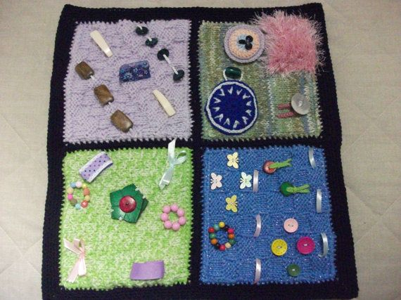 Knitted Twiddle Sensory Lap Blanket For Dementia Etsy Handcraft Fidget Quilt Unique Items Products