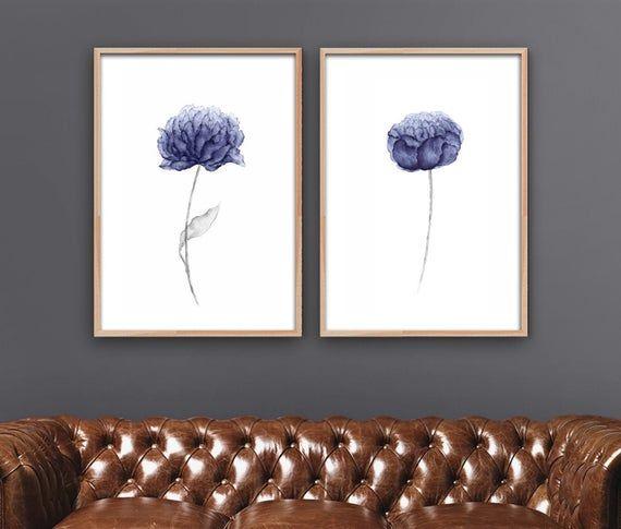 Blue peony flower watercolor wall art - 2 set #bluepeonies