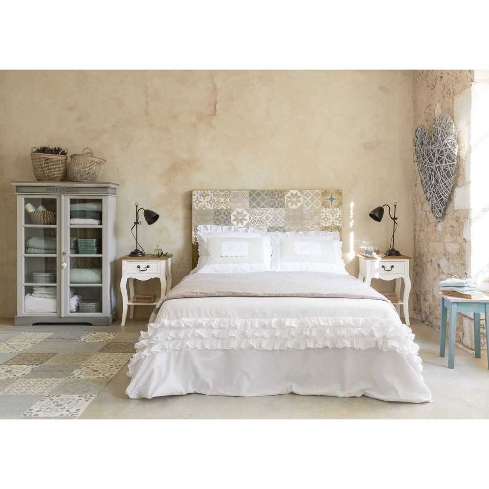 parure de lit en coton blanche 220x240 chambre lit 160. Black Bedroom Furniture Sets. Home Design Ideas