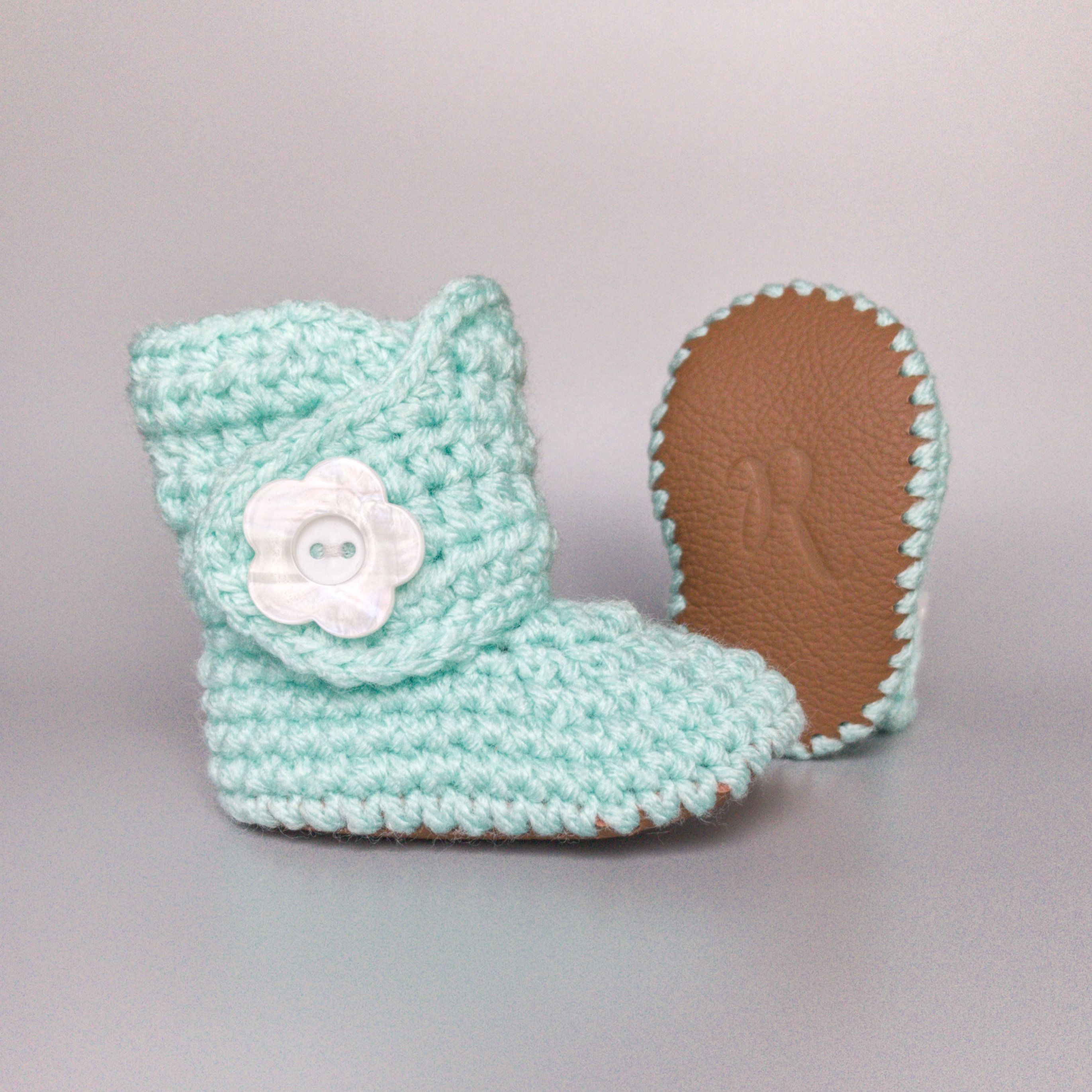 d12e5a24b3f3d Mint Baby Shoes, Knit Baby Boots, Baby Girl Booties, Crochet Baby ...