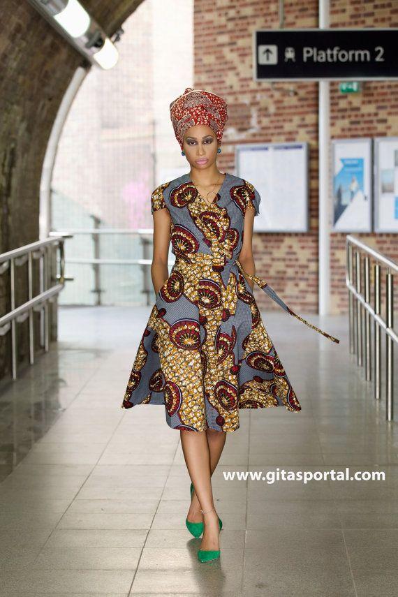 Queen African print wrap dress by GITAS Portal by GitasPortal