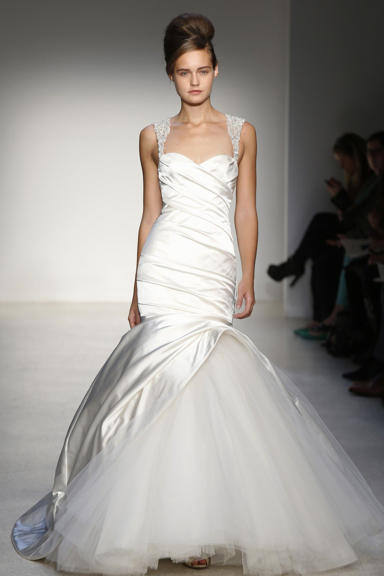 Kenneth Pool - Bridal Fall 2013    TAGS:Fishtail, Floor-length, Straps, Cream, Kenneth Pool, Satin, Silk, Elegant, Princess