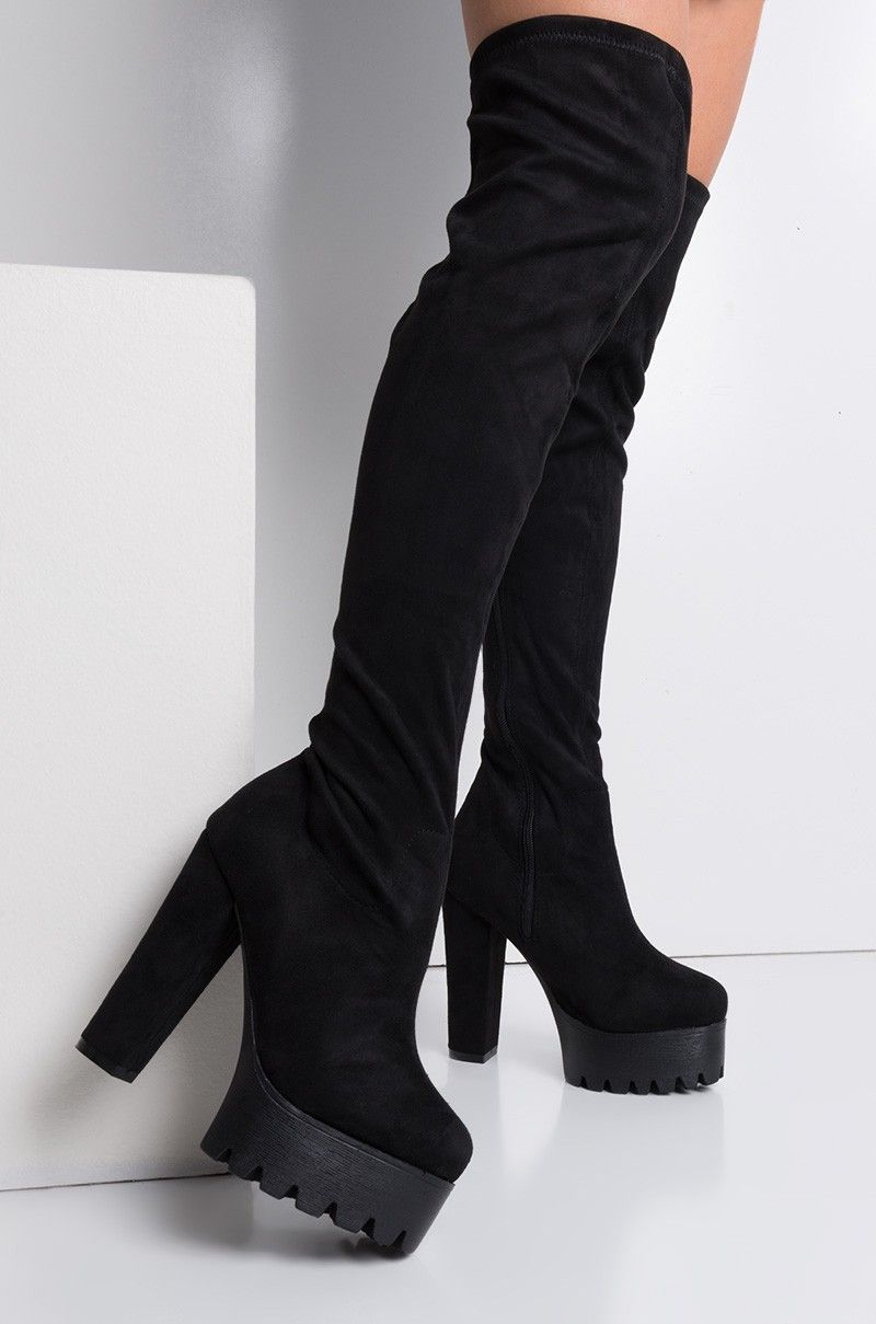 01b80efded1 High Chunky Heel Platform Faux Suede Over The Knee Boots in Black ...