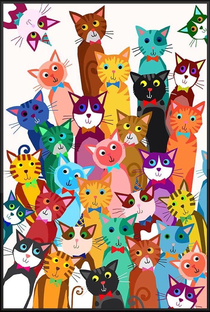 Днем рождения, открытка много кошек