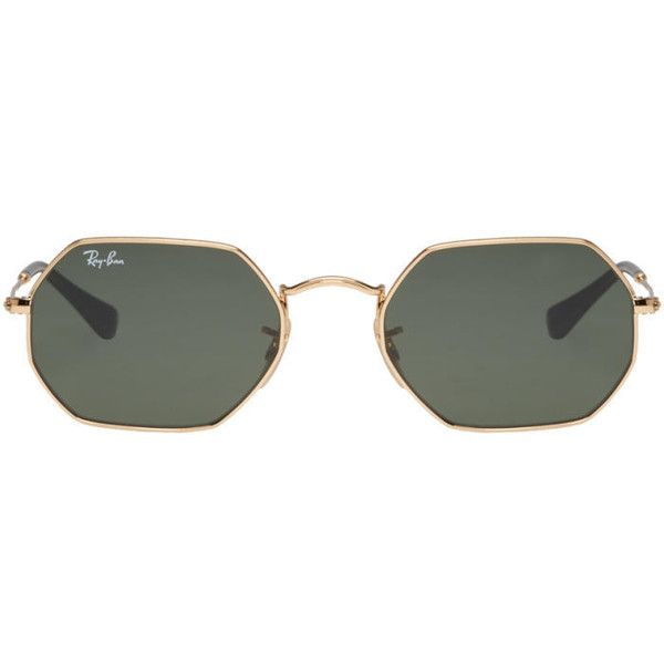d86fe486f8647 Ray-Ban Gold Hexagon Sungasses ( 145) ❤ liked on Polyvore featuring ...