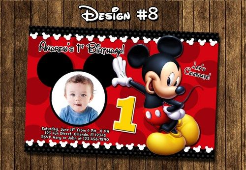 Mickey Mouse Birthday Party Baby First 1st Clubhouse Red Mickey - mickey mouse invitation template