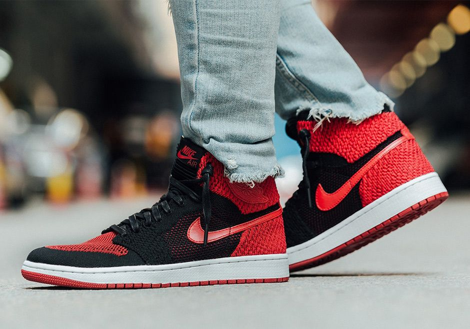 Air Jordan 1 Flyknit Bred Banned On-Feet Images 919704-001  thatdope   sneakers  luxury  dope  fashion  trending 42362e9a9