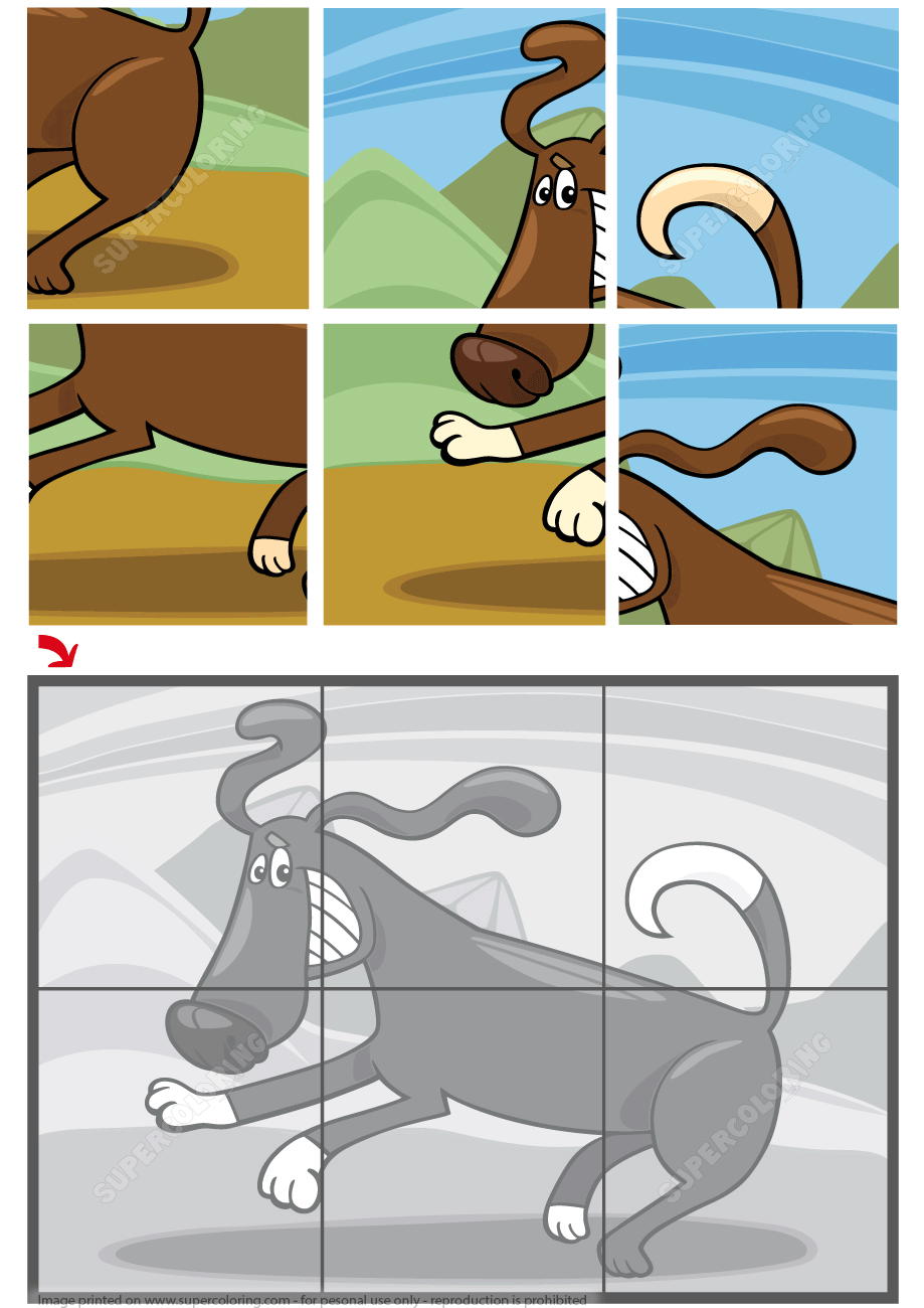 6 Piece Jigsaw Puzzle with a Running Dog | Free Printable Puzzle Games