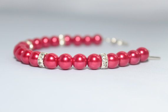 Red Pearl Bracelet by pinksparkles01 on Etsy, £7.00