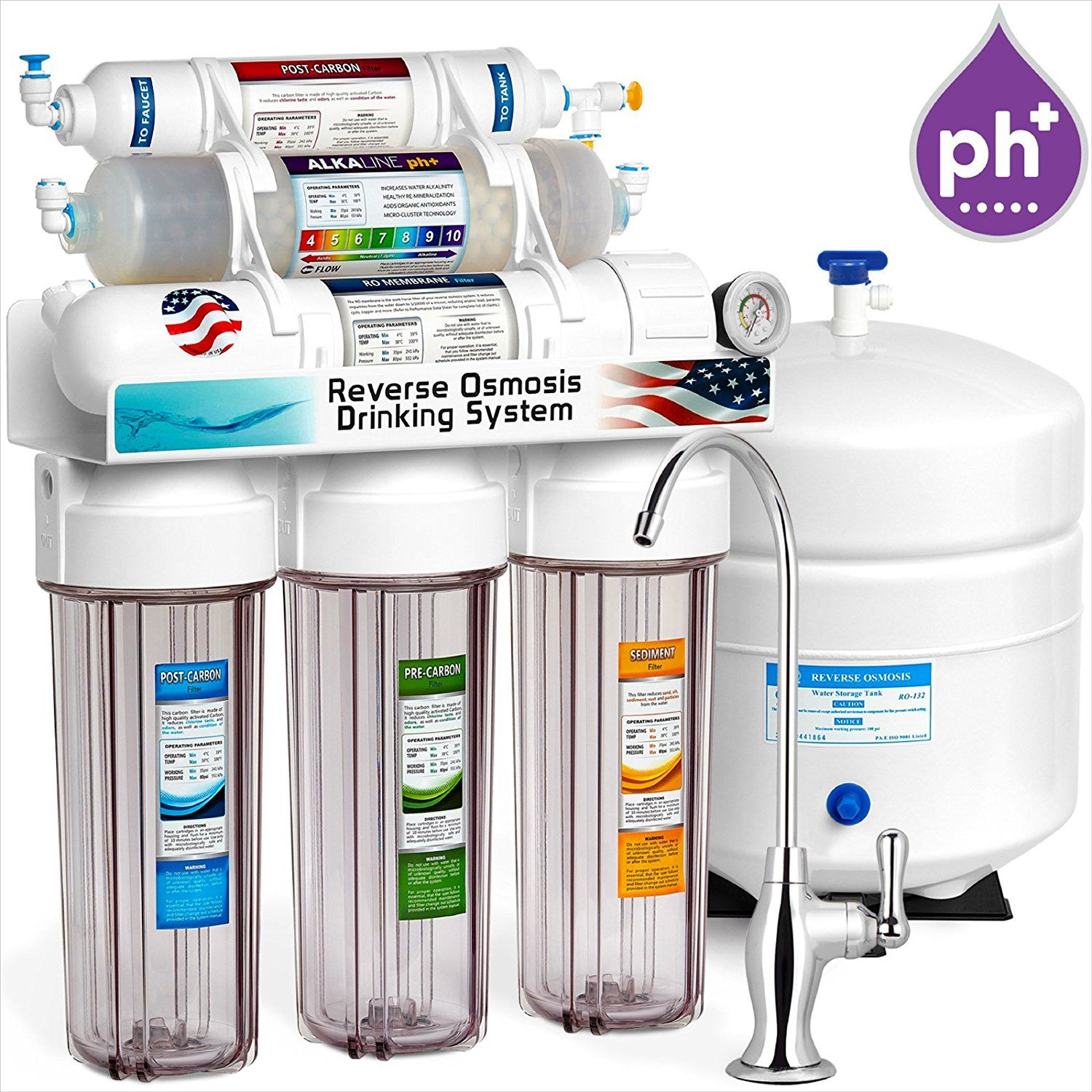 Alkaline Reverse Osmosis Filtration System 10 Stage Ro Mineralizing Water