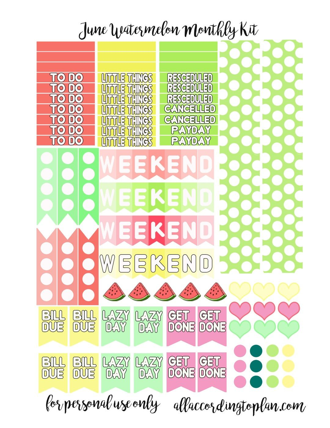 Free Watermelon Planner Stickers - June Kit - All According to Plan
